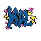 Blue ideal word graffiti with hearts and stars drawing, decals stickers