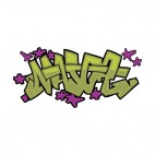 Green word graffiti with green stars drawing, decals stickers