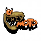 Brown and orange crazy moto graffiti, decals stickers