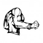 Muscular body side view mascot, decals stickers