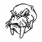 Walrus face with tusk and whiskers mascot, decals stickers