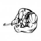 Muscular body with right hand holding bill, decals stickers