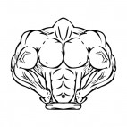 Muscular body posing mascot, decals stickers