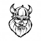 Angry viking face with horned hat mascot, decals stickers