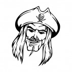 Angry pirate face with hat and long hairs mascot, decals stickers