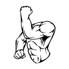 Muscular body flexing left arm, decals stickers