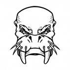 Walrus face with tusks and whiskers mascot, decals stickers