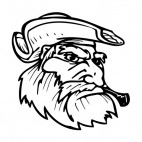 Pirate face with large beard and hat mascot, decals stickers