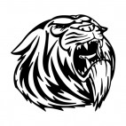Tiger face roaring mascot, decals stickers