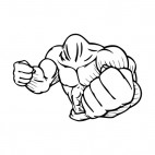 Muscular body showing fists mascot, decals stickers
