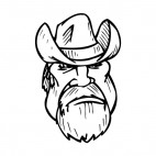Cowboy face with long beard mascot, decals stickers