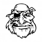 Pirate face with bandana and long beard mascot, decals stickers