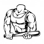 Muscular body with tank top holding bat mascot, decals stickers