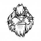 Angry lion face with whiskers mascot, decals stickers