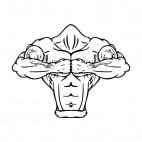 Muscular body with both fists together mascot, decals stickers