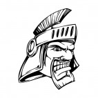 Angry man face with roman helmet mascot, decals stickers