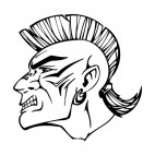 Angry amerindian face with mohawk hairstyle mascot , decals stickers