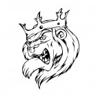 Angry lion face with crown mascot, decals stickers