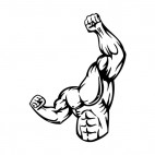 Muscular body with arm and fist high up mascot, decals stickers