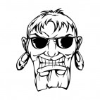 Man face with sunglasses and big earrings mascot, decals stickers
