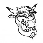 Bull face blinking mascot, decals stickers