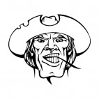 Man face with hat and wheat twig in his mouth mascot, decals stickers