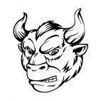 Angry animal man with curved horns mascot, decals stickers