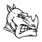 Angry rhinoceros face mascot, decals stickers