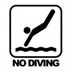 No diving sign with text, decals stickers