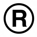Federal registration trademark 0.5 inches symbol sign, decals stickers