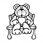 bear sitting down on a chair, decals stickers