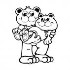 Bear holding his son in his arms, decals stickers
