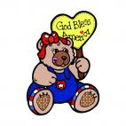 U.S.A bear with sign saying god bless america, decals stickers