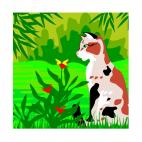 Cat watching flower, decals stickers