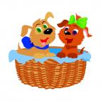 Cute dogs in a basket, decals stickers