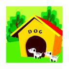 Puppies with dog house, decals stickers