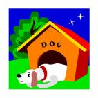 Sad dog sleeping in dog house at night, decals stickers
