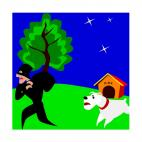 Dog running after robber, decals stickers