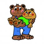 Bear holding son in his arms, decals stickers