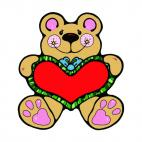 Bear with big heart, decals stickers