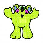Green bear with hands up, decals stickers