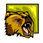 Angry grizzly bear, decals stickers