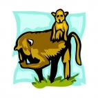 Baboon with baby baboon, decals stickers