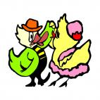 Chickens dancing, decals stickers