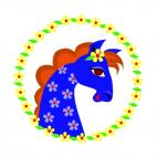 Blue horse with flower logos, decals stickers