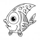 Angelfish with big eyes, decals stickers