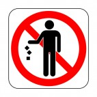No throwing waste on the ground allowed sign, decals stickers