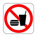 No food or beverage allowed sign, decals stickers