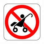No stroller allowed sign, decals stickers