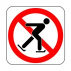 No ice skating allowed sign, decals stickers